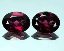 Beauteous Rich Purple Pink Natural Rhodolite Garnet Oval Pair 4.08 Cts