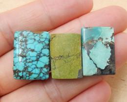 3 Pcs Natural Turquoise Rectangle Gemstone Cabochon ,Lucky Gemstone H3836