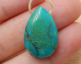 Turquoise Drilled teardrop Pendant Bead , Oval Turquoise Gemstone H3837