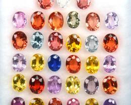 ~COLORFUL~ 10.10 Cts Natural Fancy Sapphire 5x4 mm Oval Cut 33 Pcs Sri Lank