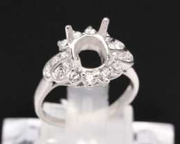Semi Mount 5x4mm 18K Fine Jewelry White Gold G/VS  Diamond Ring V14