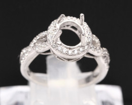 Semi Mount 7x5mm 18K Fine Jewelry White Gold G/VS  Diamond Ring V15