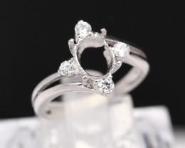 Semi Mount 8x6mm 18K Fine Jewelry White Gold G/VS  Diamond Ring V19