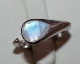 Natural Rainbow Moonstone 925 Silver Ring 69