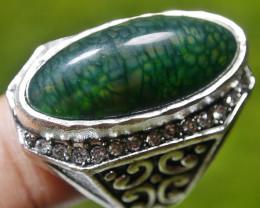 98.60 CT Beautiful GREEN GOBLIN Dragon Skin Agate Ring Jewelry