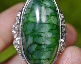 114.10 CT Beautiful GREEN GOBLIN Dragon Skin Agate Ring Jewelry