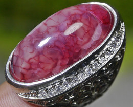 140.35 CT Beautiful Pink Dragon Skin Agate Ring Jewelry