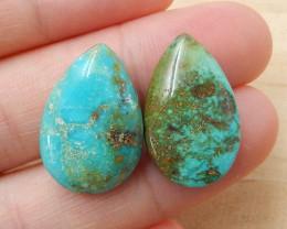Sale 2 Pcs Turquoise Teardrop Gemstone Cabochon, 20x14x7mm, 21x13x7mm H3862