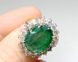 16.24ct Certified Diamond Ring Set With Untreated  Emerald , 14kt Solid Whi