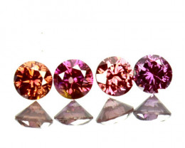 Set  0.17Ct Natural Purple Pink Diamond Round 2.00mm