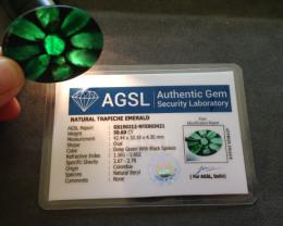 Certified Trapiche Emerald 50.60ct.