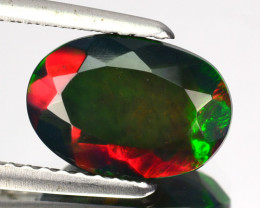 1.29 Cts Wonderful  Natural Black Opal Play Color Smoked Oval