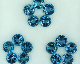 4.92Ct Fine Qualite Natural London Blue Topaz Round 4mm Parcel