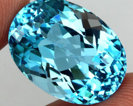 Clean 23.96 ct. Oval Cut 100% Natural Top Sky Blue Topaz Brazil Elegant!