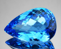 21.25 Cts Natural Swiss Blue Topaz Pear Checkerboard Cut Brazil