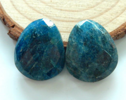 2pcs Trilliant Faceted Apatite Cabochons | Natural Apatite Cabochons B565