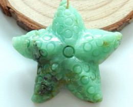 Carved Chrysocolla Starfish,  Chrysocolla bead, Hand Carved Pendant B561