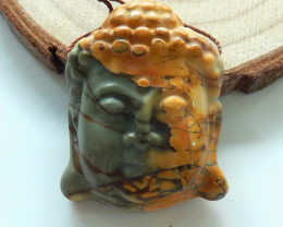 Multi Color Jasper Buddha Head Beads, Buddha Jewelry, Jewelry Findings B567