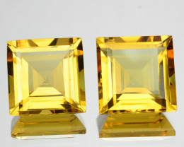 ~PAIR~ 7.85 Cts Natural Golden Yellow Beryl 9 mm Square Cut Brazil