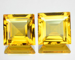 ~PAIR~ 7.29 Cts Natural Golden Yellow Beryl 9 mm Square Cut Brazil