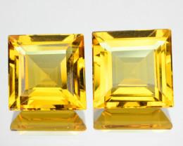 ~PAIR~ 7.29 Cts Natural Golden Yellow Beryl 9 mm Square Cut Brazil