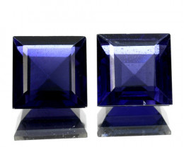 ~PAIR~ 4.75 Cts Natural Iolite Deep Blue 7.0 mm Square Cut Tanzania