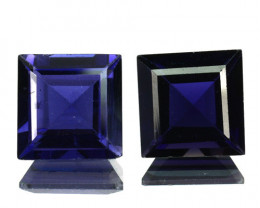 ~PAIR~ 4.28 Cts Natural Iolite Deep Blue 7.0 mm Square Cut Tanzania
