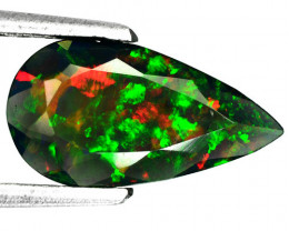 ~FLASHING~ 1.79 Cts Smoked Ethiopian Color Play Opal Pear Cut