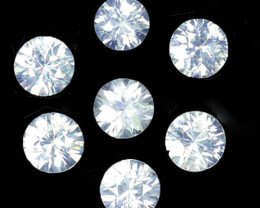 4.46Ct Dazzling Sparkle Natural White Zircon Round 5mm Parcel