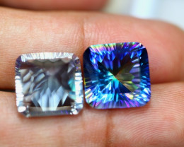 19.40ct Mystic Topaz Cushion Cut Pair Lot GW3271