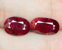 6.08 Cts 2PCS AMAZING RARE NATURAL PINKISH RED RUBY LOOSE GEMSTONE