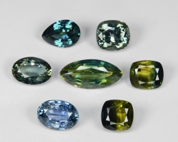 7.65 Cts  7PCS NATURAL MULTI COLOR CEYLON SAPPHIRE LOOSE GEMSTONE