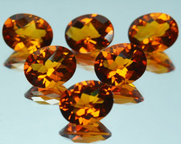 Reddish Orange 10.24Ct Natural Citrine Oval Checker Board 9 X 7mm Parcel