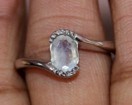 Natural Rainbow Moonstone 925 Sterling Silver Ring Size (8 US) 77