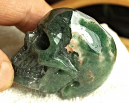 462.0 Carat Moss Agate Skull Carving - Cool