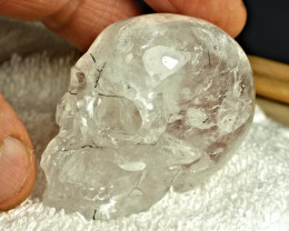 437.0 Carat Rutile Quartz Skull Carving - Cool