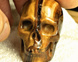484.0 Carat Tiger Iron Eye Skull Carving - Cool