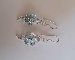 Blue topaz 925 Sterling silver earrings #33407