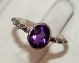 Natural Amethyst 925 Sterling Silver Ring 80