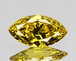 Extremely 0.21Ct Natural Yellow Diamond Marquise