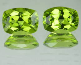 3.22Ct Matching Pair 3.22Ct Parrot Green Peridot Cushion
