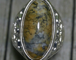 93.55 CT UNTREATED Beautiful Abstract Picture Indonesian Agate Ring Jewelry