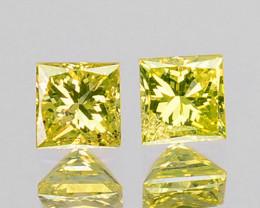Delightful Square Princess Cut 2mm Natural Yellow Diamond Pair