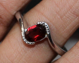 Natural Red Garnet 925 Sterling Silver Ring Size (7 US) 62