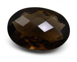 23.90 ct Oval Checkerboard   Smoky Quartz - $1 No Reserve Auction