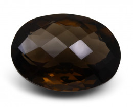28.00 ct Oval Checkerboard   Smoky Quartz - $1 No Reserve Auction