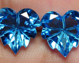 9.80 CRT 2PCS LOVELY CARVING SWISS BLUE TOPAZ VERY CLEAR-