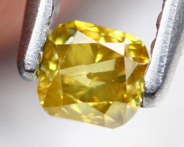0.21Ct Untreated Fancy Vivid Golden Yellow Color Diamond A0909