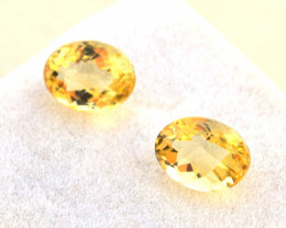 3.83 Carat Matched Pair of Fantastic Checkerboard Cut Heliodor Beryl