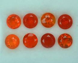 2.73 Cts Natural Fiery Orange Mexican Fire Opal 8 Pcs Round Cut 5 mm